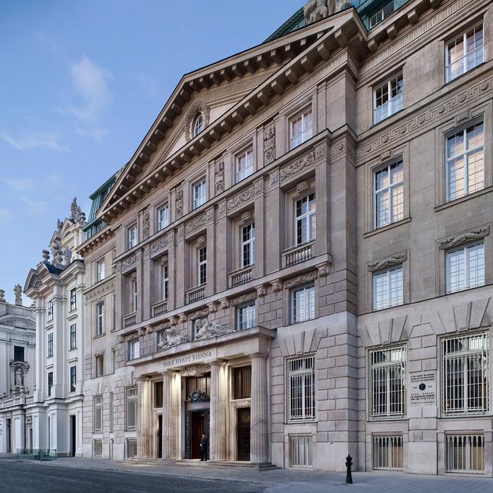 Exterior shot of Park Hyatt hotel Vienna historic building