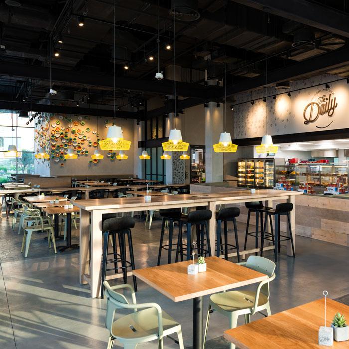 Rove Dubai Marina restaurant interior industrial style