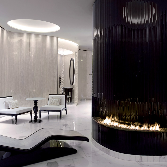 Glamorous black and white relaxation spa area