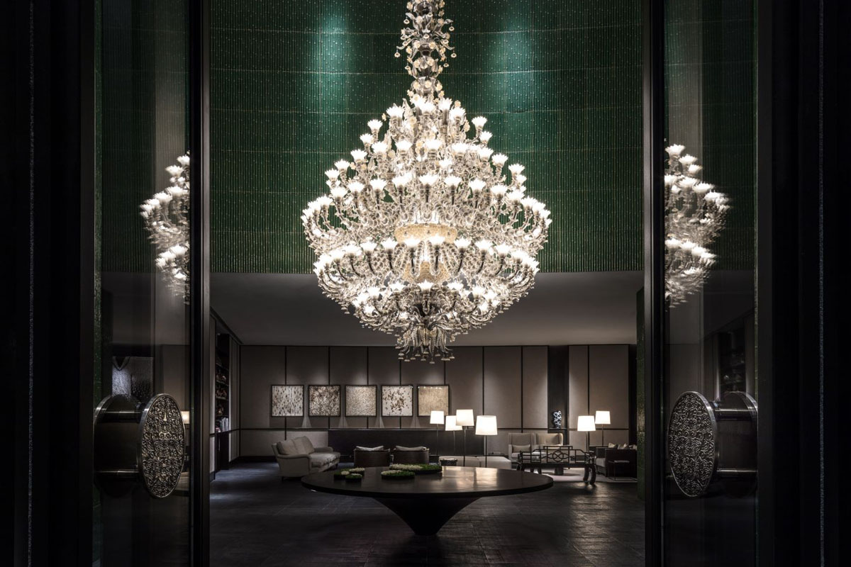 Swire Hotels - Large chandelier in hotel lobby of Middle House Shanghai China